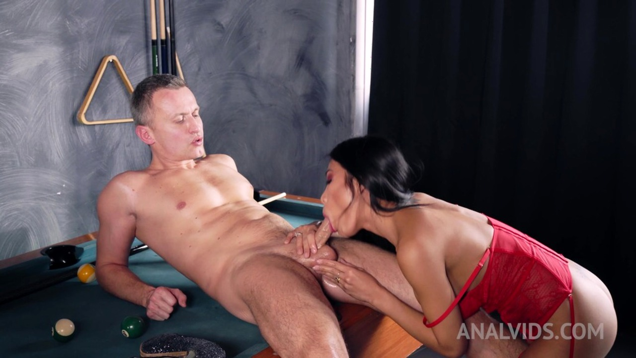 Polly Pons assfucked on pool table after hot striptiase OTS072
